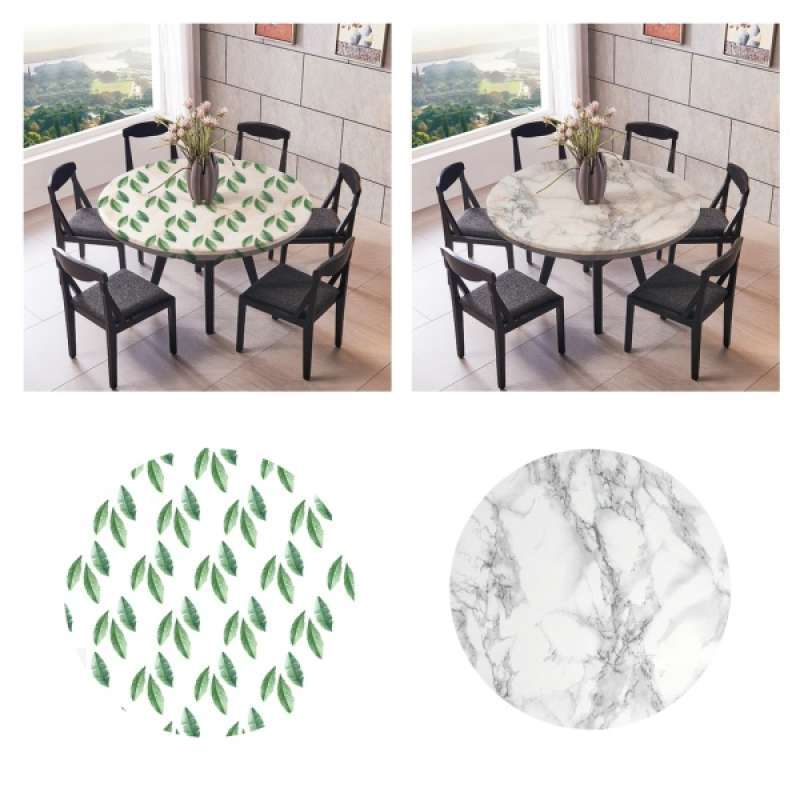 Jual 2 Pack Table Cloth Large Round Elastic Edge Fitted Waterproof Table Cover 59 Inches Diameter Marble Pattern And Vintage Flower Pattern Online Desember 2020 Blibli