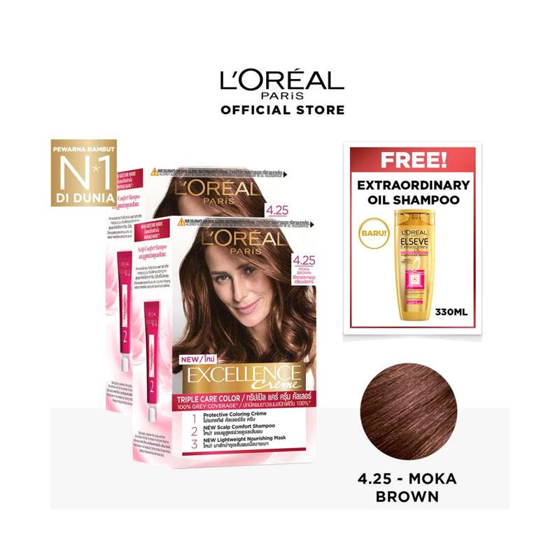 L Oreal Paris Excellence Creme Hair Color 4 25 Moka Brown 2 pcs Free Elseve Ultra Nourishing Shampoo 330 mL
