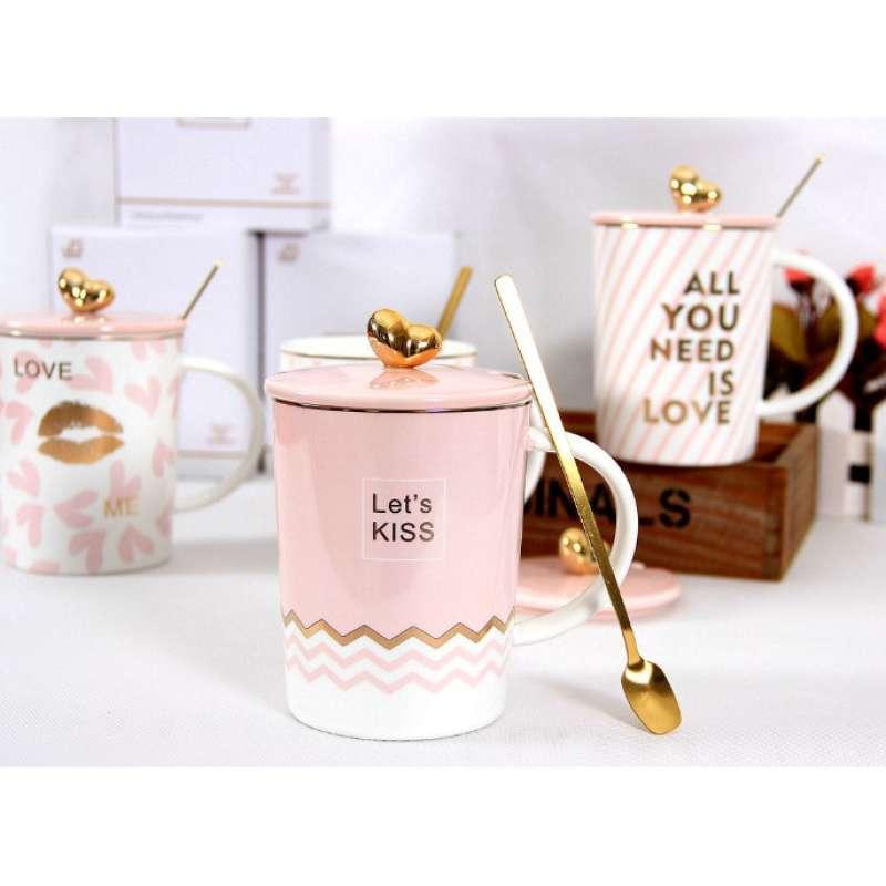 Gelas Kopi Keramik Set Love Pink Cute