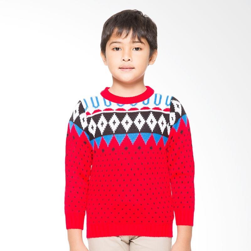 Adamsbell Boy's Basic Katun Sweater Anak - Merah