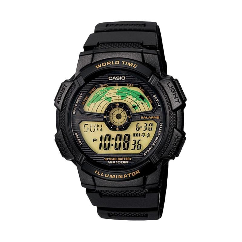 Jual CASIO AE-1100W-1BVDF Rubber Strap Jam Tangan Pria - Hitam Online - Harga & Kualitas Terjamin | Blibli.com