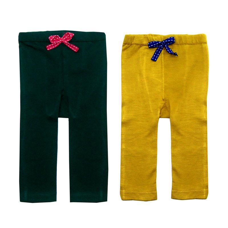 Bearhug Legging pants for Baby Girl - Hijau-Kuning [2 Pcs]