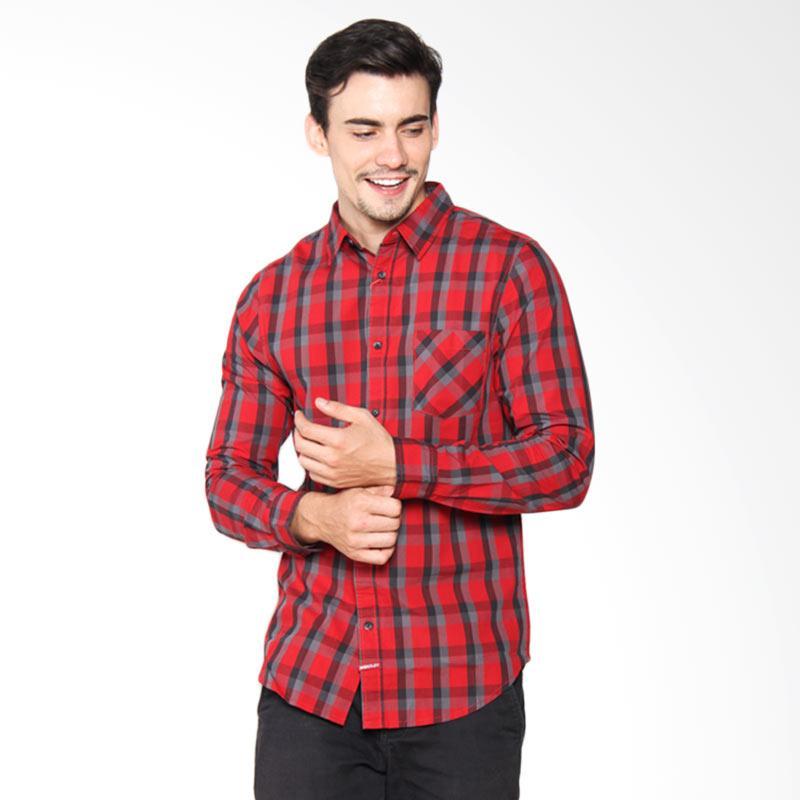 Moutley Street Check Long Men Shirt - Red 310041711