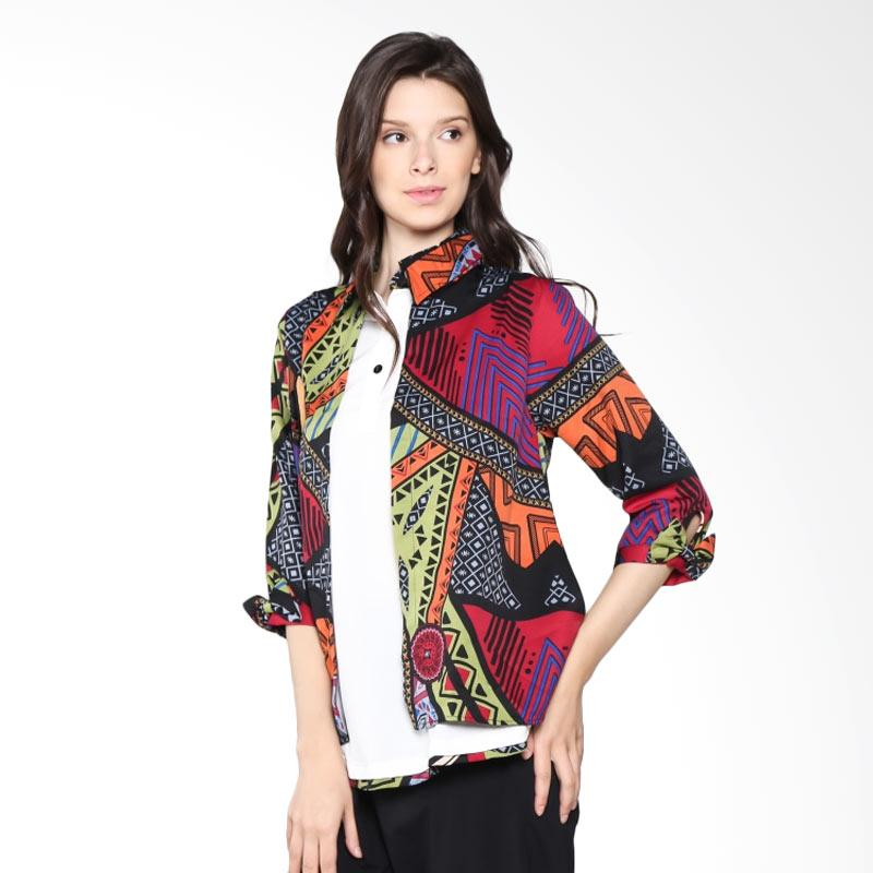 Carte Abstract Blouse Shirt - Red Light Green Hue