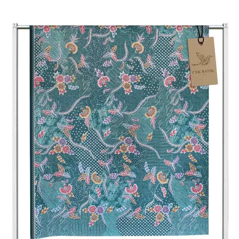Jual Cek Batik Motif Modern 3 Bunga Warna Manis Kain Batik  Tosca