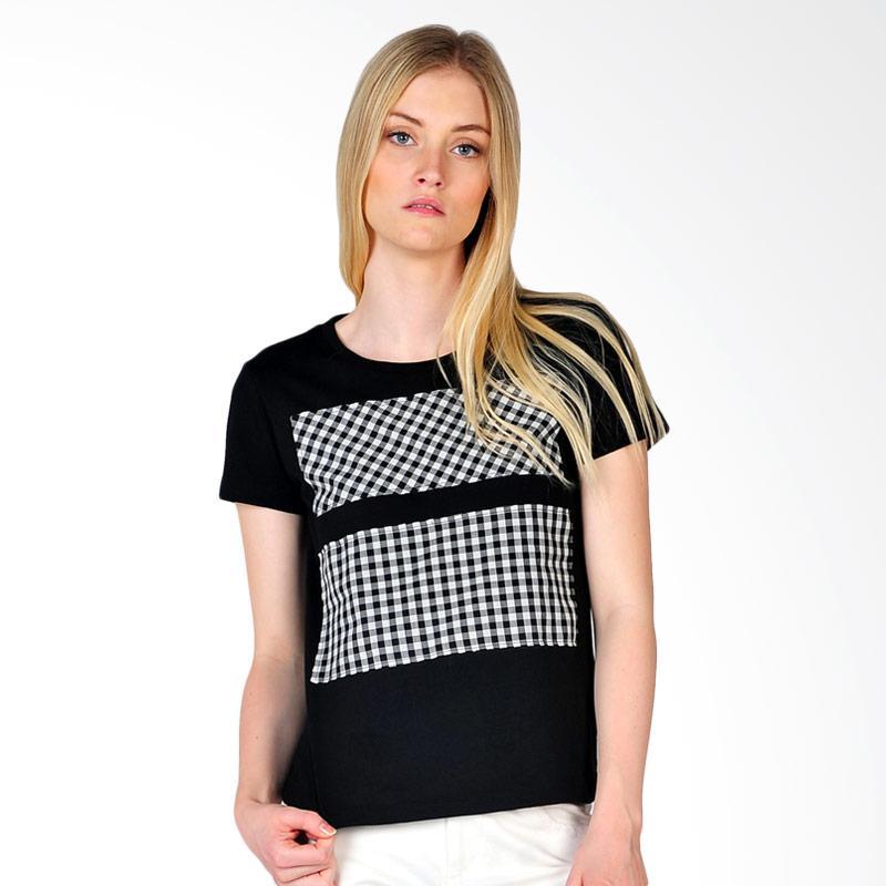 SJO & SIMPAPLY Roundneck Combo Women's T-Shirt Wanita - Black