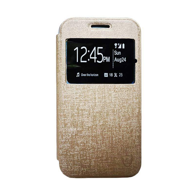 Zagbox Flip Cover Casing for Samsung Galaxy J1 Mini - Gold