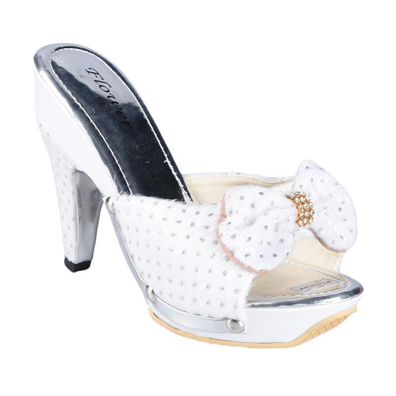 Flower SN-127C High Heels Sepatu Wanita - Silver