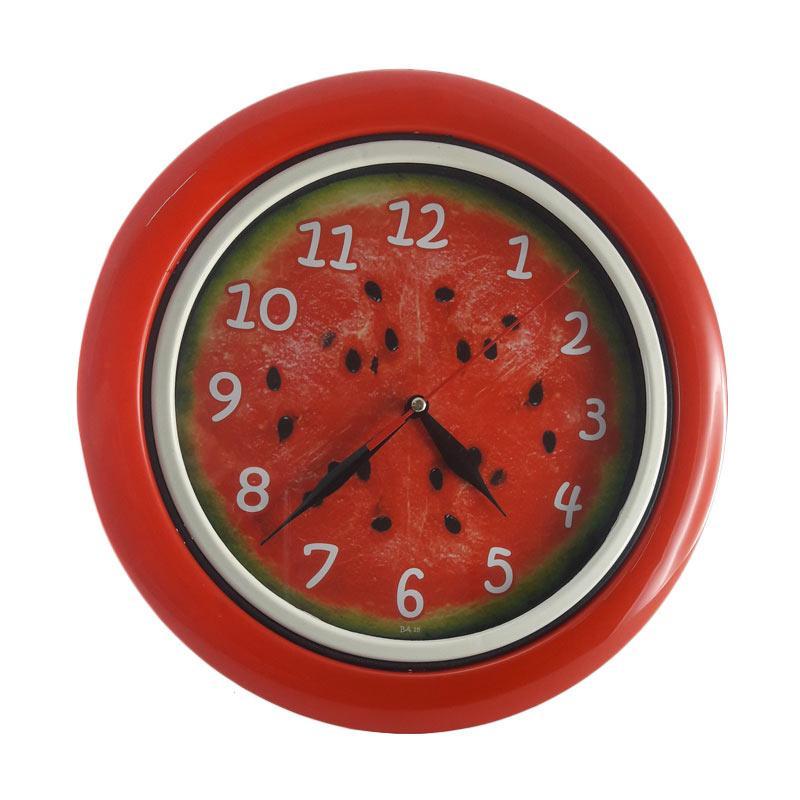 TJ  BA 18 Motif Buah Watermelon Jam Dinding - Ring Red [25 cm]
