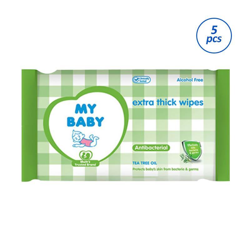 My Baby Antibacterial Tissue Basah [10 sheets/5pcs]