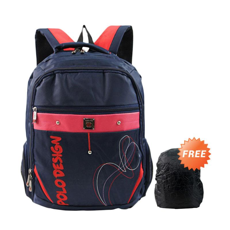 Polo Design PX1-21003L Backpack - Dark Blue + Free Rain Cover