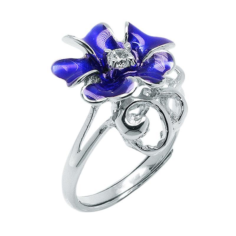Anna Silver Flower SWR-0005 Ladies Ring - Blue
