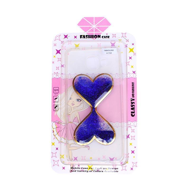 Fashion Case Gliter Love Casing for Samsung A710 - Blue