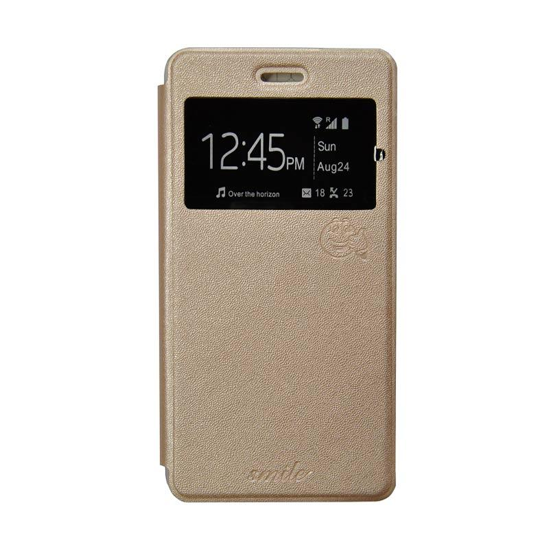 Smile Flip Cover Casing for Oppo Mirror 5 A51 - Gold