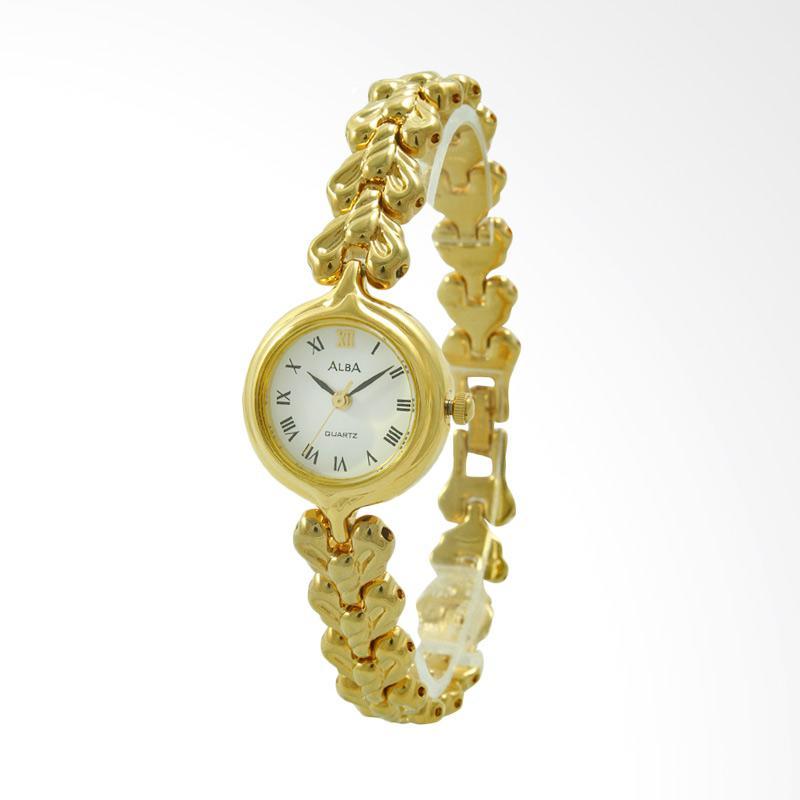 ALBA Jam Tangan Wanita - Gold White - Stainless Steel - ATQ54K