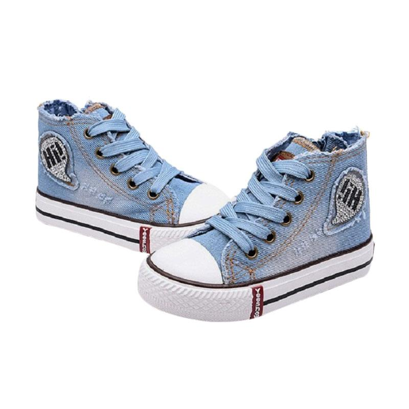 Chloebaby Shop  S260 Sneakers Canvas Denim Kids Perpet Tali Sepatu Anak - Biru Muda