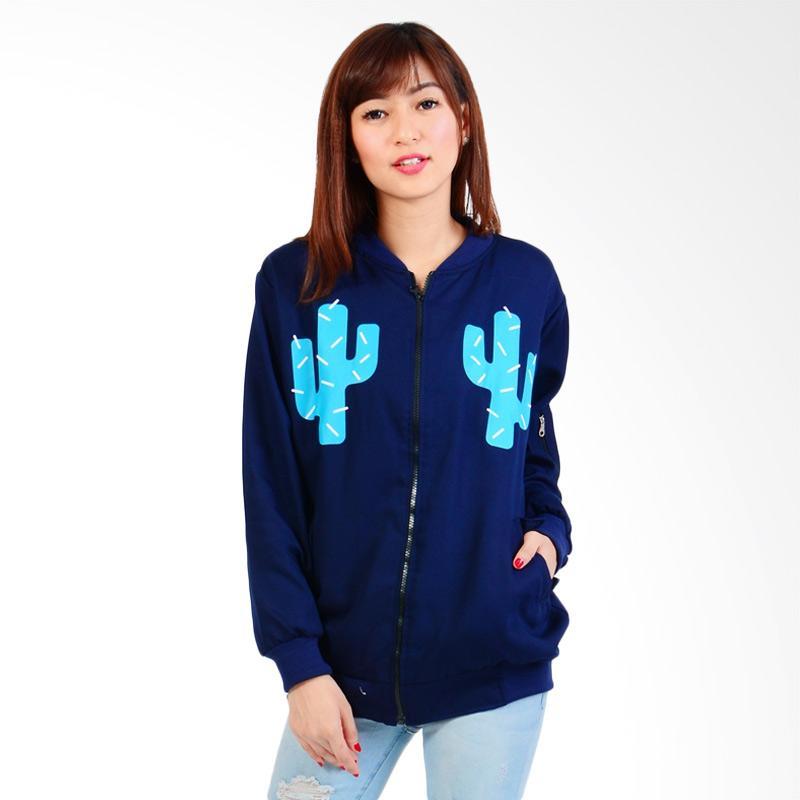 Boontie Kaktus Jacket Bomber Wanita - Navy
