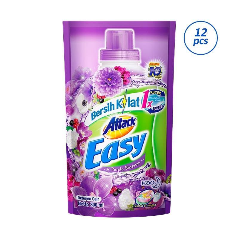 ATTACK Easy Liquid Purple Blossom Pouch Detergent [800 mL/12 pcs]
