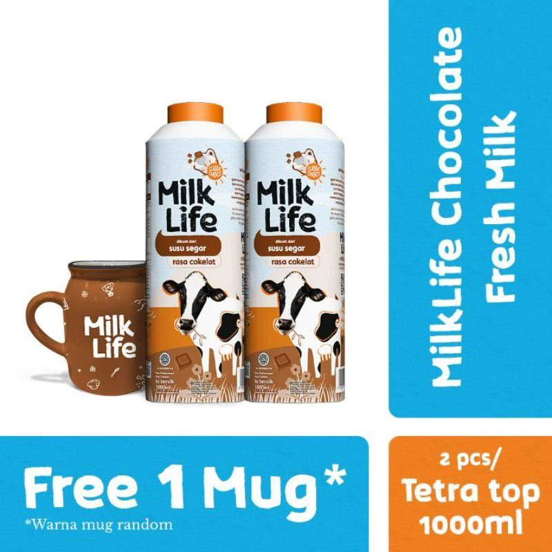MilkLife Fresh Milk Cokelat 1000 mL 2 Pcs Free Mug