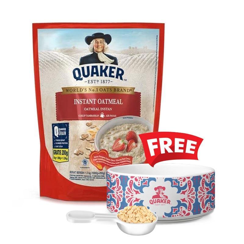 QUAKER Instant Oatmeal 1200 g Free Bowl dan Scoop