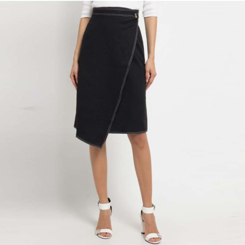 EDITION WOMEN ES15 BLACK Stitched Midi Skirt