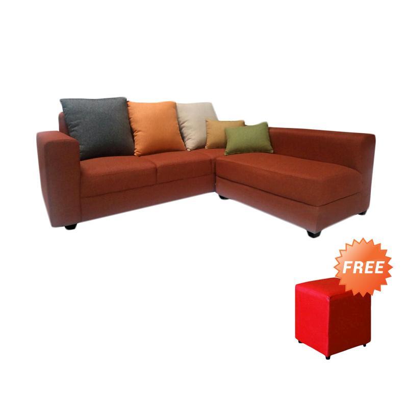 FCENTER Sofa L Putus Veronica Brick + FREE PUFF JABODETABEK