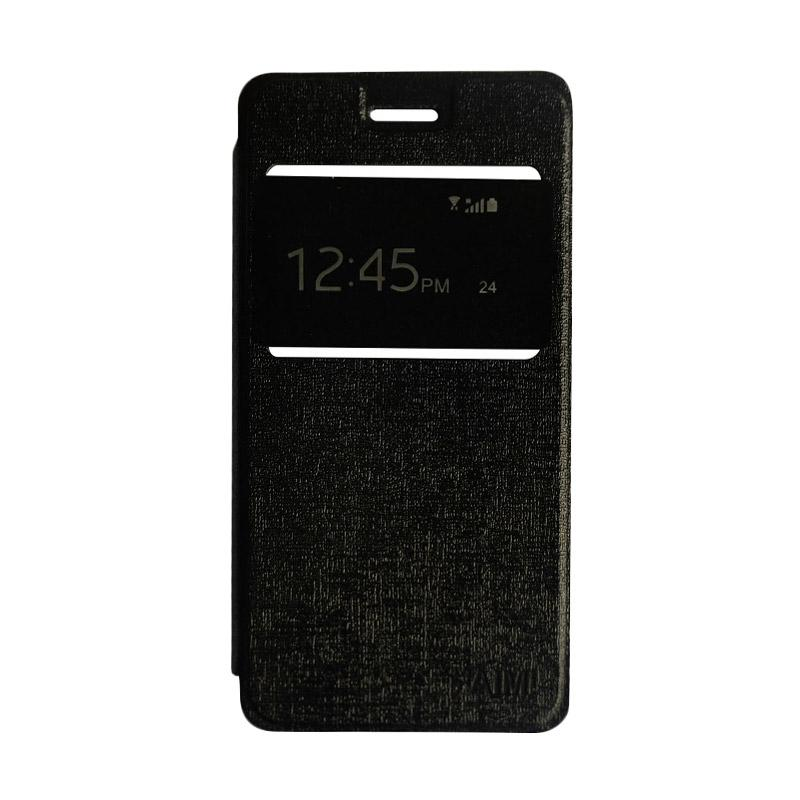 Aimi Flipshell Flip Cover Casing for Samsung Galaxy J7 Core Leather Case / Sarung Hp - Hitam