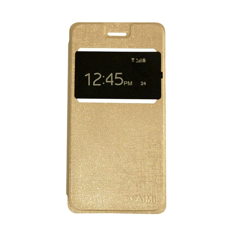 Aimi Flipshell Flip Cover Casing for Samsung Galaxy J7 Core Leather Case / Sarung Hp - Gold
