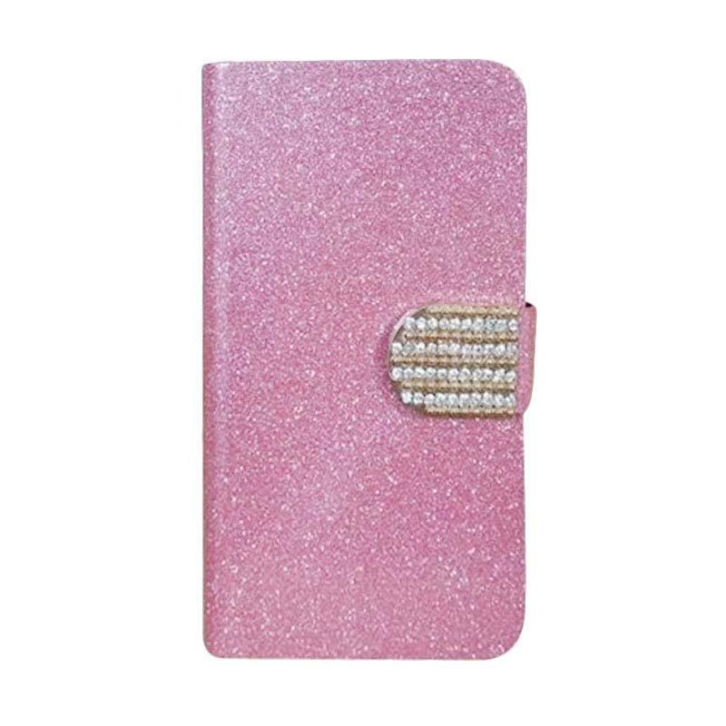 OEM Diamond Flip Cover Casing for LG G1 Mini - Merah Muda
