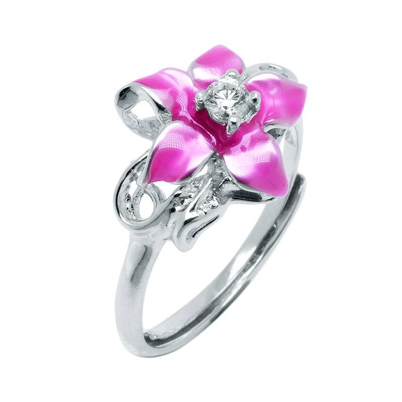 Anna Silver Flower SWR-0001 Ladies Ring - Pink