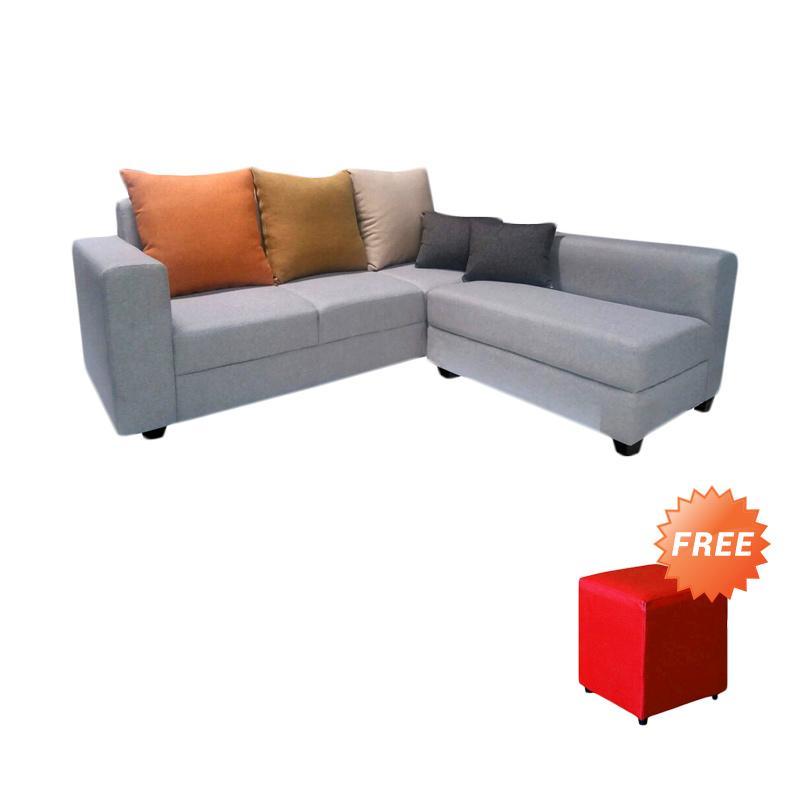 harga FCENTER Sofa L Putus Veronica Grey + FREE PUFF JABODETABEK Blibli.com
