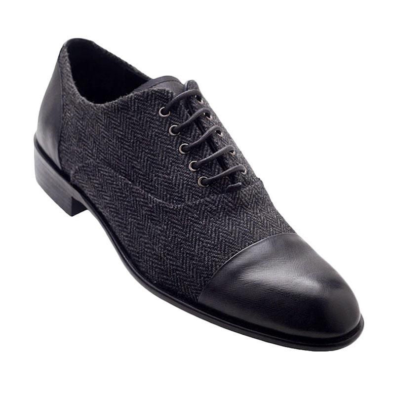 Ftale Footwear Kobe Mens Shoes Sepatu Pria - Herringbone Black