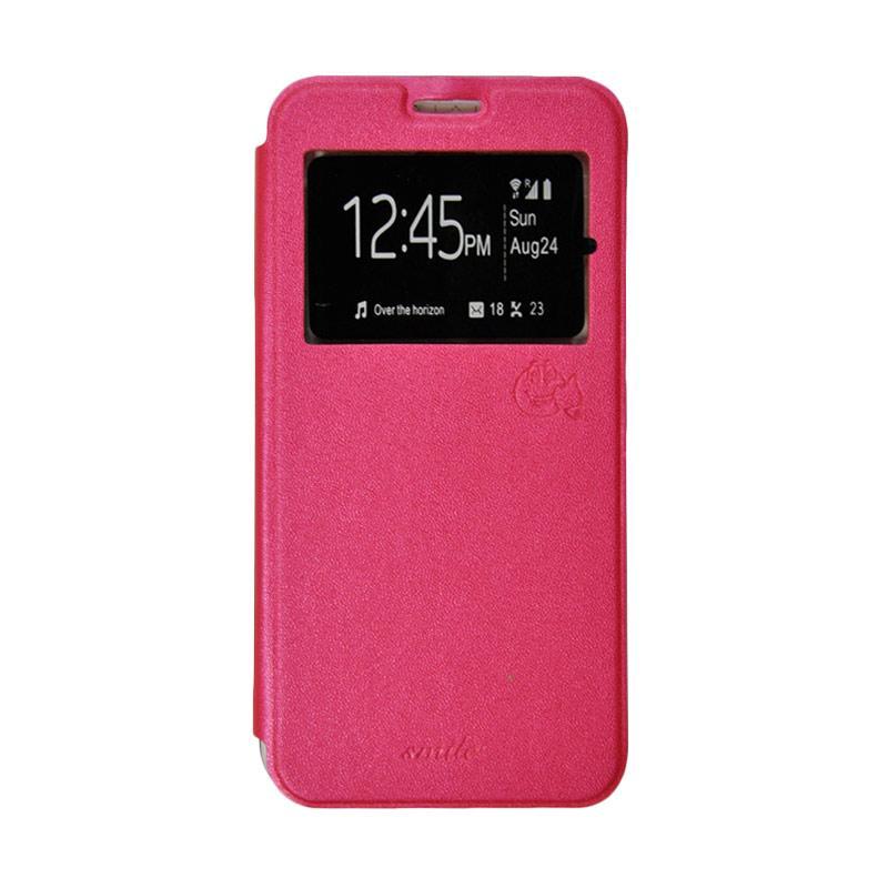 SMILE Flip Cover Casing for Xiaomi Redmi 2 or Redmi 2 Prime - Merah