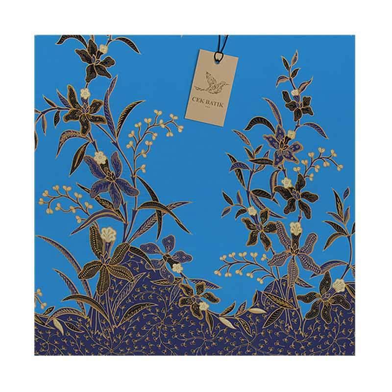 Cek Batik Motif Bunga Akar Biru Langit Manis Kain