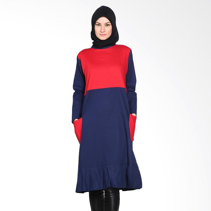 Chick Shop Cute CO-60-04-MD Dress Moslem - Red Navy