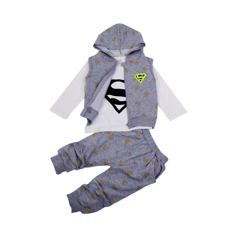 Chloebaby Shop 3in1 Superman Set F960 Baju Anak - Grey