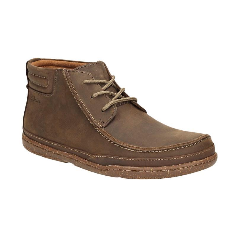 Clarks Trapell Top Lea Sepatu Pria - Dark Brown