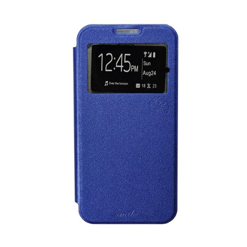 SMILE Flip Cover Casing for Oppo Find 5 mini R872 - Biru Tua