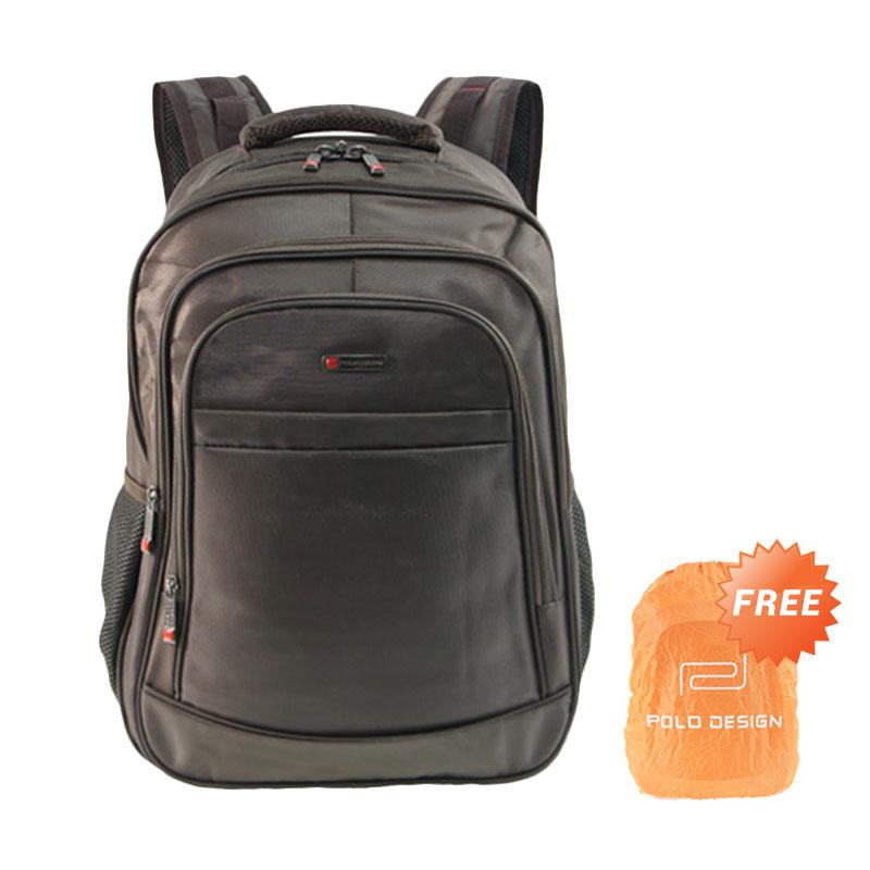 Polo Design SRB 14686-01 Backpack with Rain Cover - Coffee