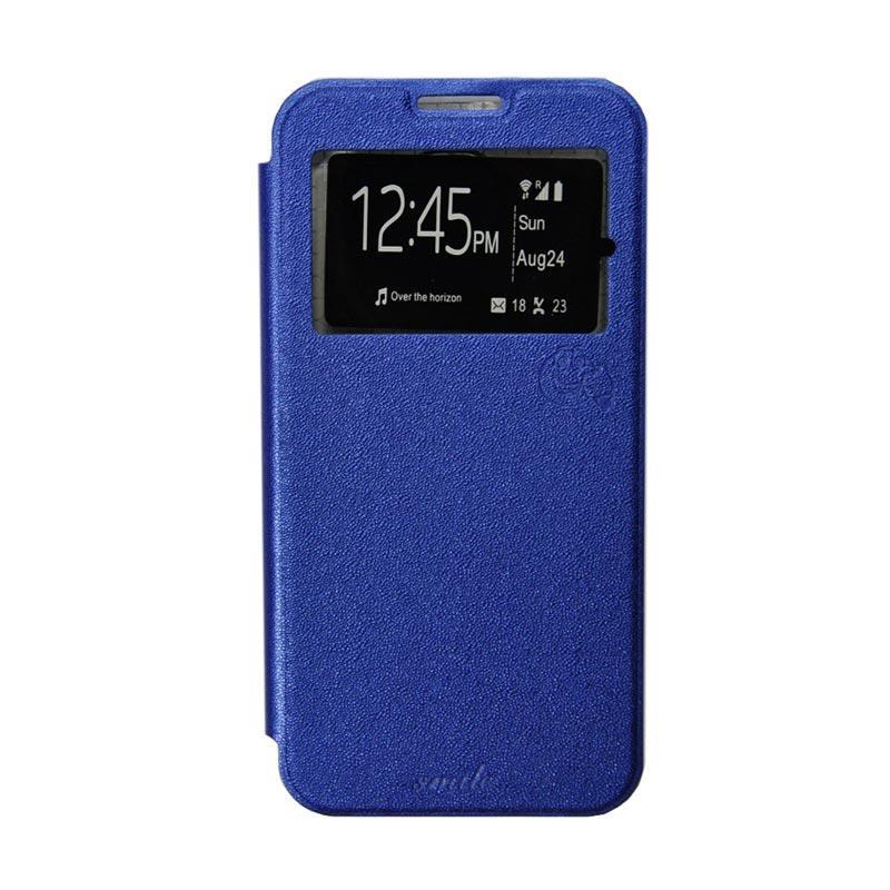 SMILE Flip Cover Casing for Samsung Galaxy E5 - Biru Tua