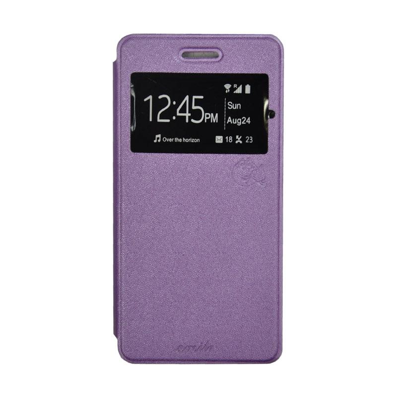 SMILE Standing Flip Cover Casing for Andromax R2 - Purple