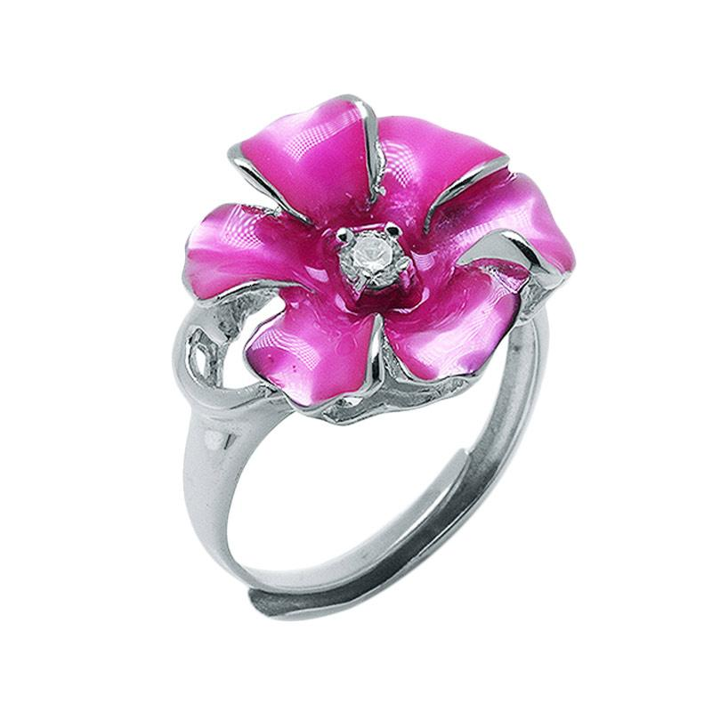 Anna Silver Flower SWR-0006 Ladies Ring - Pink