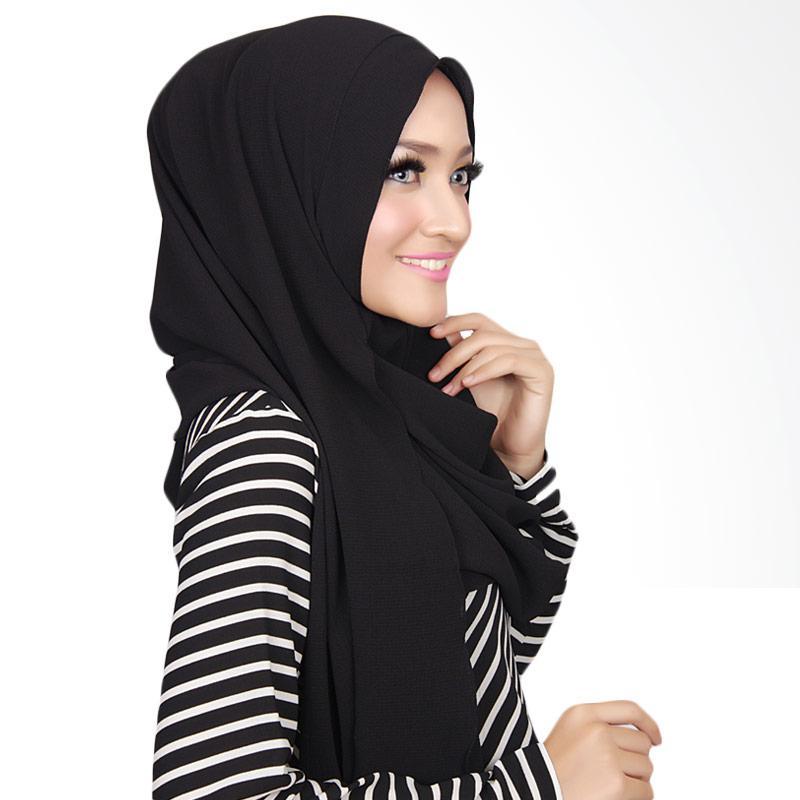 Cantik kerudung long nadine plain instant  shawl   black full07