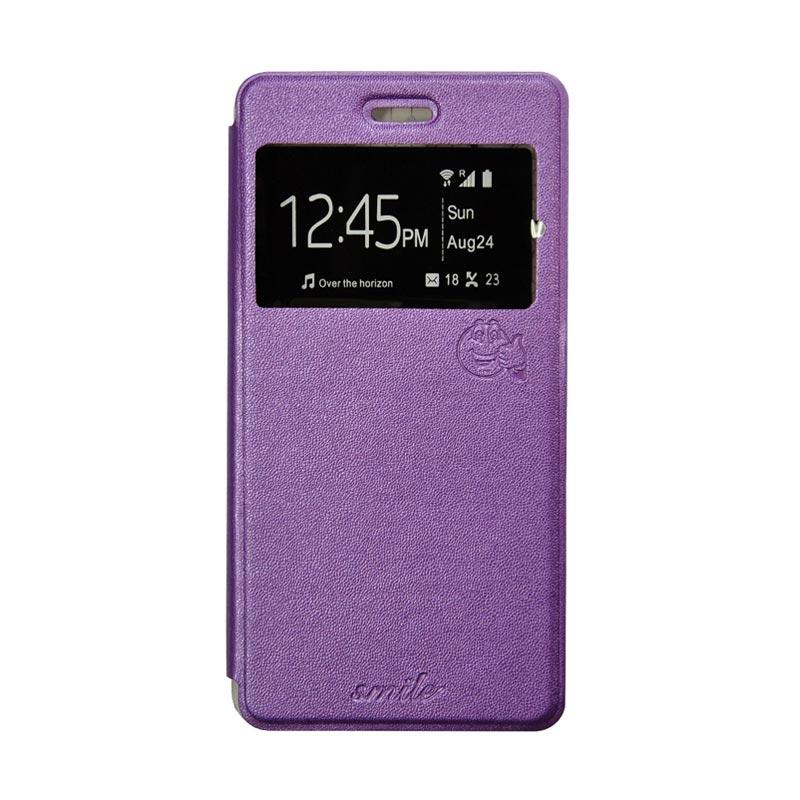 SMILE Flip Cover Casing for Asus Zenfone 4 - Ungu