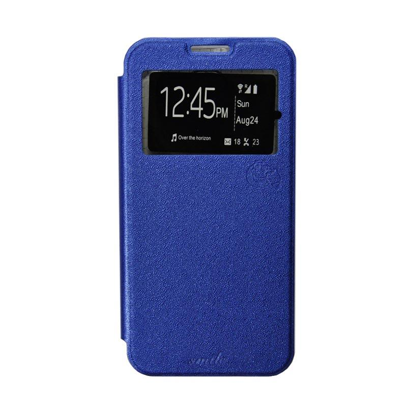 Smile Flip Cover Casing for Oppo Joy 3 A11 - Biru Tua