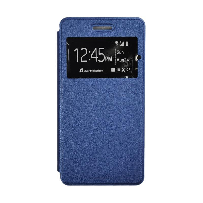 SMILE Standing Flip Cover Casing for Andromax R2 - Deep Blue