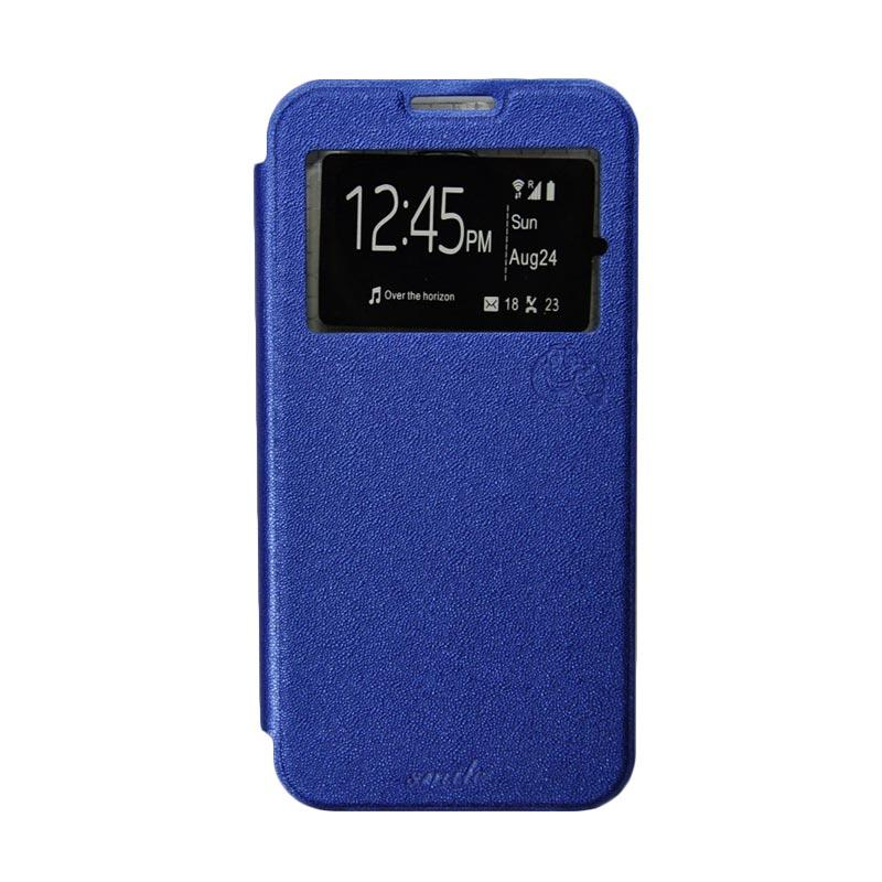 Smile Flip Cover Casing for Samsung Galaxy E7 - Biru Tua