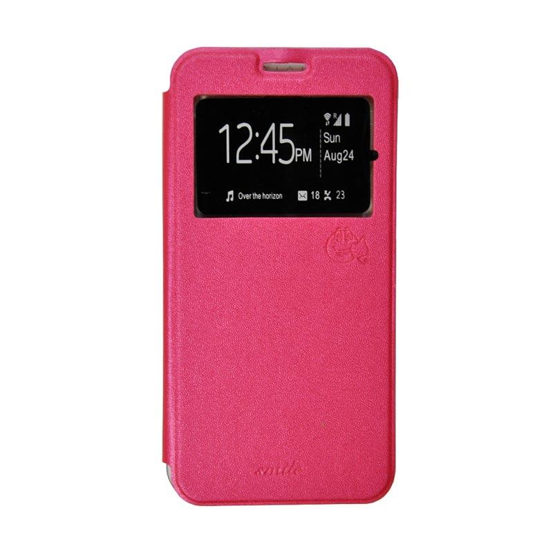 Smile Flip Cover Casing for Oppo Joy 3 A11 - Hot Pink