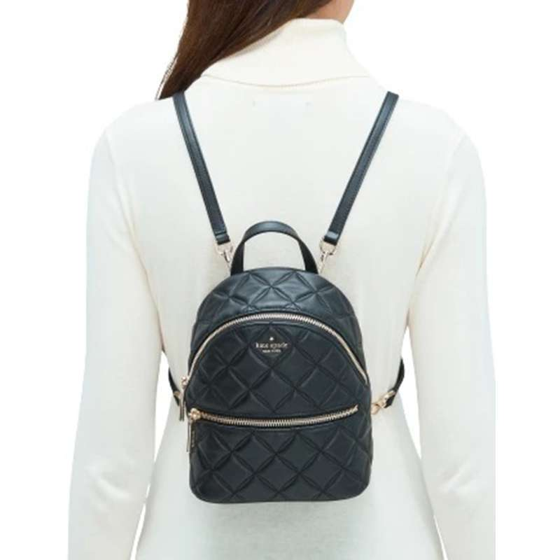 KATE SPADE Natalia Mini Convertible Leather Backpack BLACK