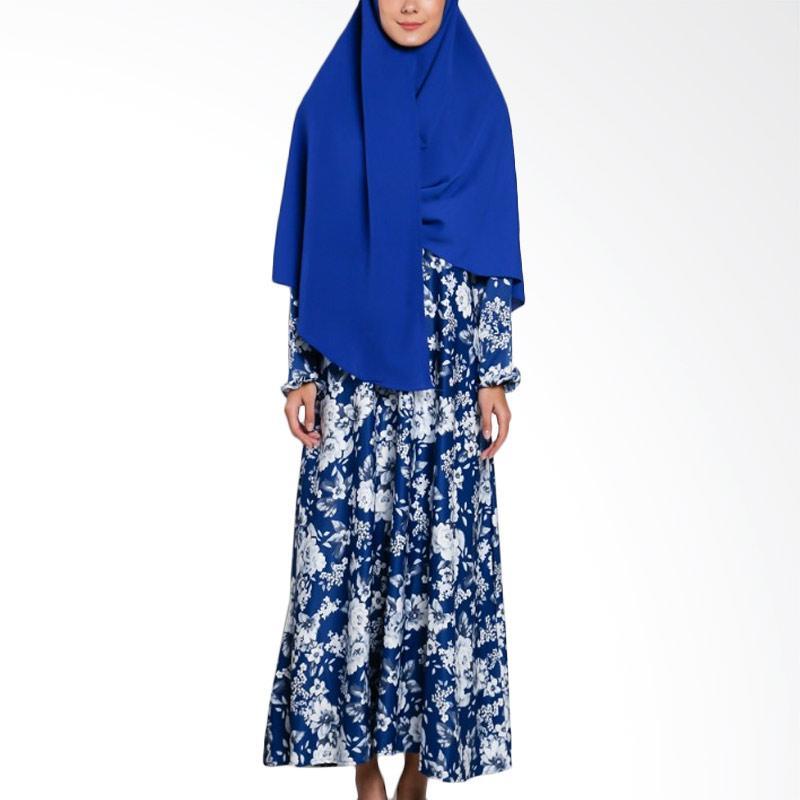Jual Erin Collection Motif Bunga Baju Gamis Muslim Wanita Biru Free Kerudung Pinguin Online Februari 2021 Blibli